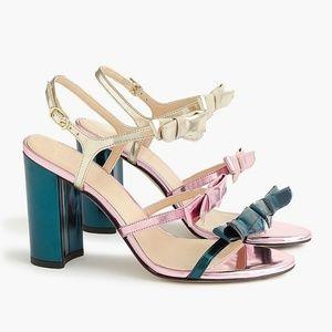 J. Crew Stella bow heels metallic emerald block